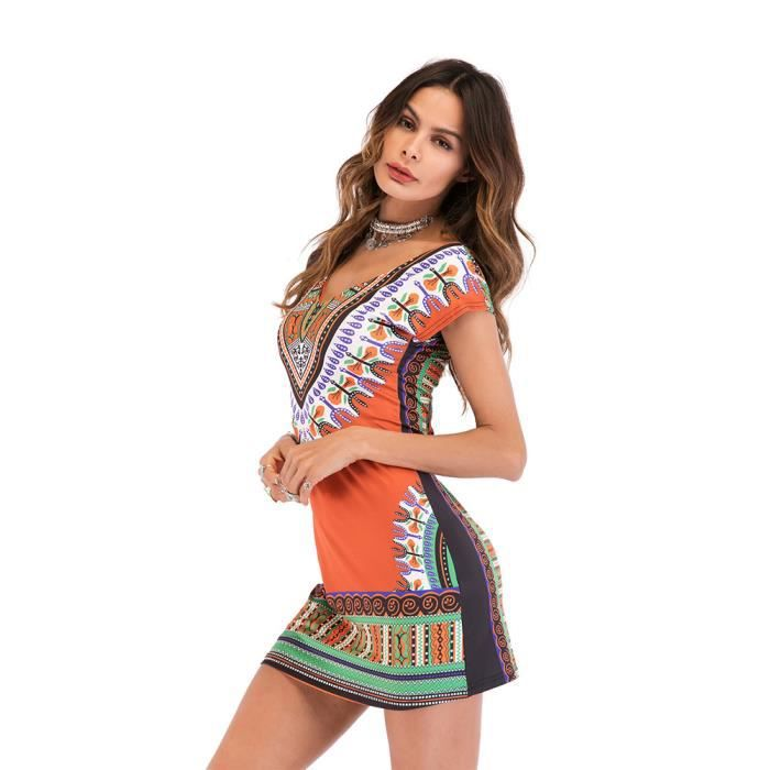 Robe Femme Printemps Et Eté Manches Courtes Col V Slim Fit Imprimé Mode Simple Flavor