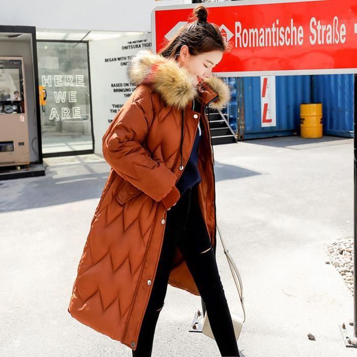 Manteau Femmes Capuchon Long rw7631 Fausse En Veste Les À D'hiver Épais Slim Chaud Fourrure qE7Zdg