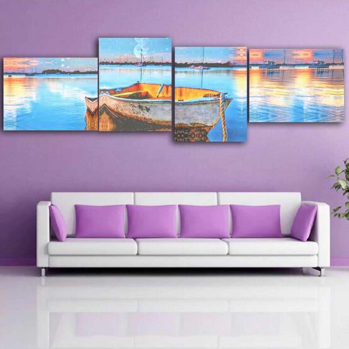 4x kit peinture l 39 huile tableau abstraite mer et bateau pop art moderne toile achat vente. Black Bedroom Furniture Sets. Home Design Ideas