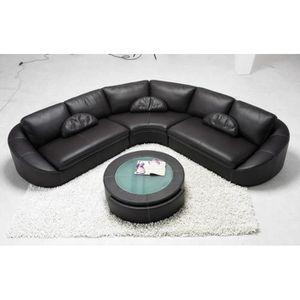Canape D Angle En Cuir Noir Arrondi Achat Vente Canape Sofa