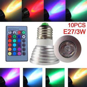 AMPOULE - LED 10pcs E27 Ampoule Spot LED RGB 3W + Télécommande