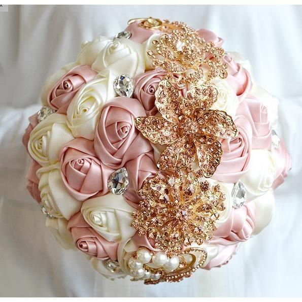 rose et cr me bouquet de mariage fleurs artificielles avec diamant faux d 39 or clair pour mariage. Black Bedroom Furniture Sets. Home Design Ideas