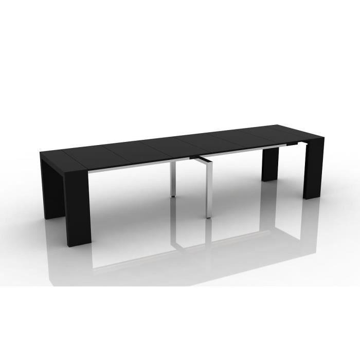 Table console extensible othello 6 allonges laqu noir Console extensible 6 personnes
