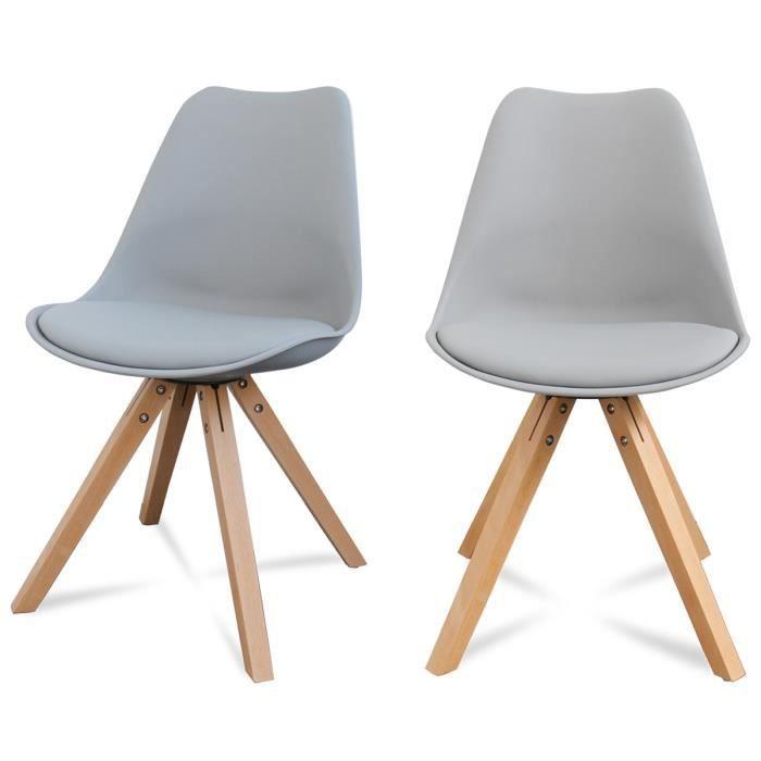 CHAISE Lot De 2 Chaises Design Ormond Wood Couleur Gris