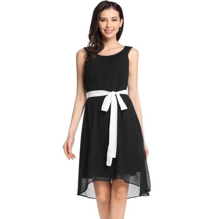 robe femmes en mousseline de soie Casual O-cousolides plissé asymétrique ourlet avec doublure