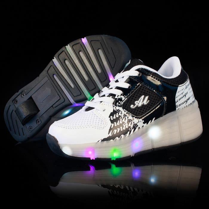 Heelys enfants chaussures à roulettes garçons filles Sneakers avec roues automatique de patinage chaussure un wheel - Noir