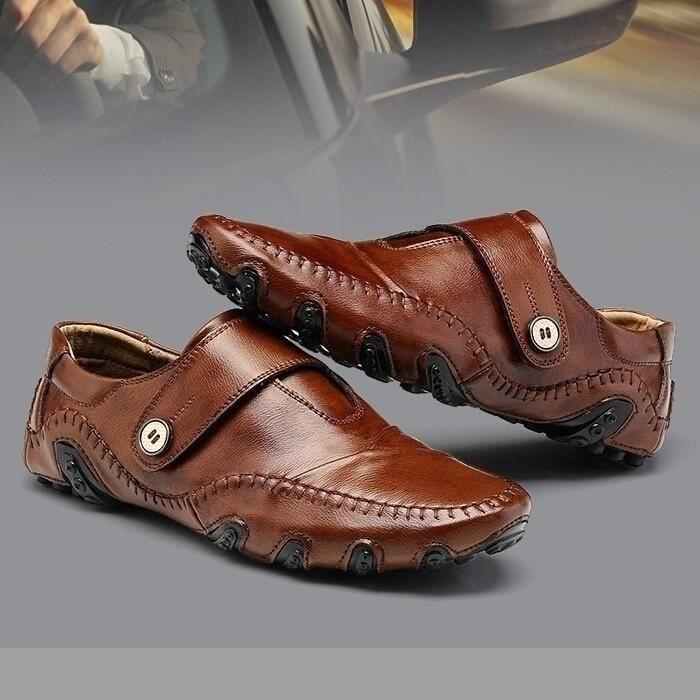 Mode Chaussures de conduite en cuir pour homme (noir, marron) Taille: 38-47,noir,13