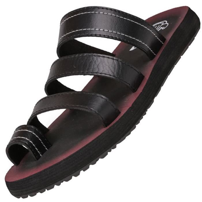Leather Open Toe Slip On Slippers Summer Sandals Shoes Flip Flops TN9X6 Taille-39