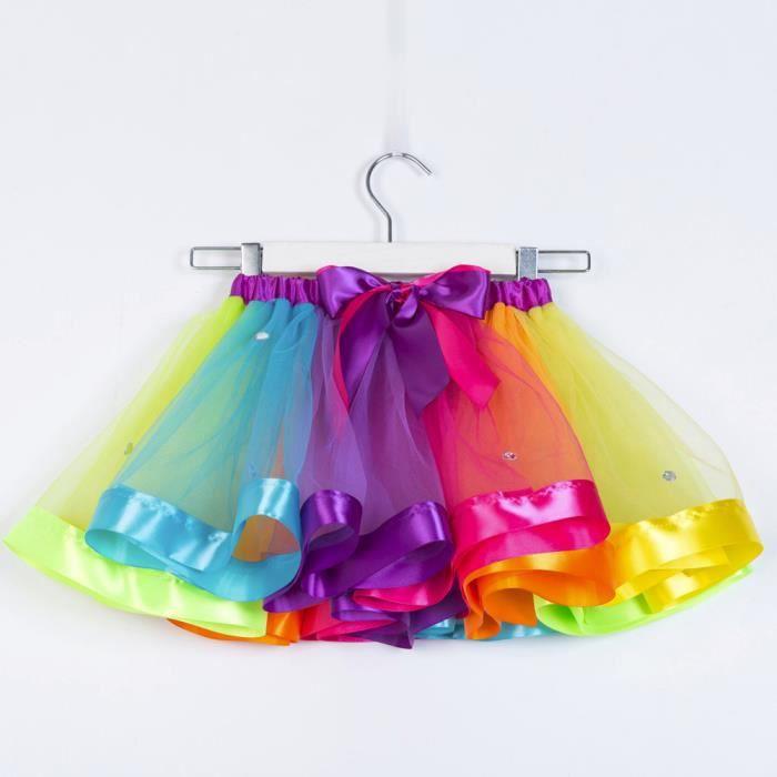 7183a3baf8a5d Filles Enfants Tutu Tulle Dance Party Ballet Tout-petit arc-en-bébé ...