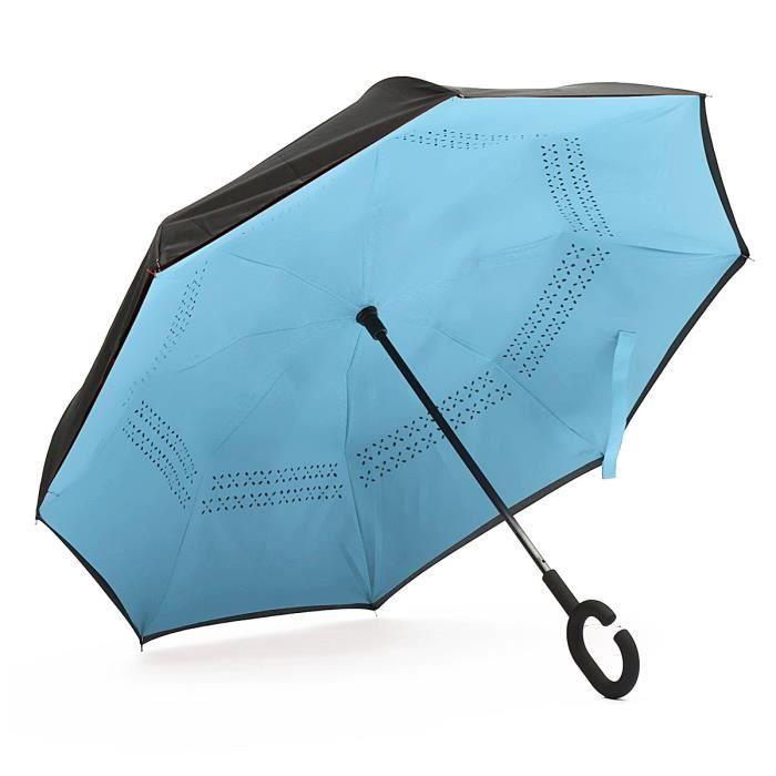 parapluie anti uv vent pluie soleil parasol invers double couche ouverture blue achat. Black Bedroom Furniture Sets. Home Design Ideas