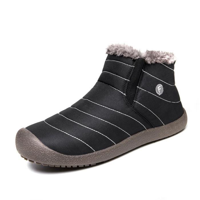 Slip On Bottes de neige pour les femmes, anti-dérapant légère cheville Bootie avec fourrure entièrement CRPQ6 Taille-47