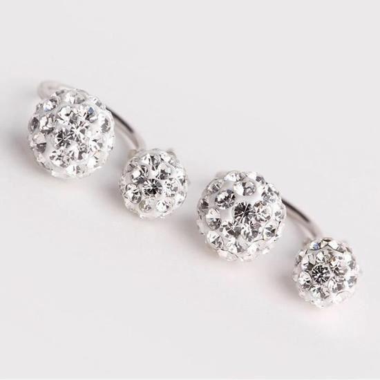 Qualité en argent 925 Boucles doreilles pour le mariage des femmes Double Disco Ball Dangle Cristal CZ bijoux de diamant Bijoux
