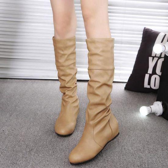 D'hiver Plat Longue Bottes Casual Haut Femmes Pointu Couleur Chaussures Spentoper kaki Solide Martin pCqU6U5w