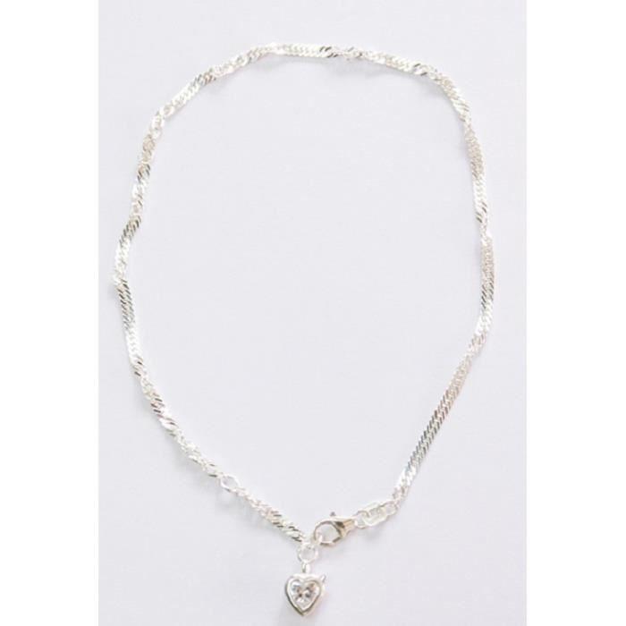Bracelet de cheville maille Singapour en argent avec pendentif cœur en zircone, fermoir mousqueton