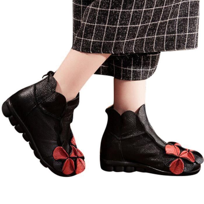 Dcontracte Main Style Fleurs Bottes Cuir Femmes En Martin Cousu 6780 Chaussures Ethnique qvtBg