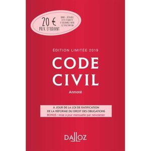 LIVRE DROIT CIVIL Code civil annoté. Edition 2019