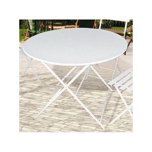 Table de jardin pliante metal Ronde Blanche 90cm - Achat / Vente ...