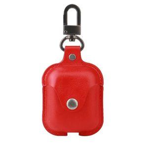 CASQUE - ÉCOUTEURS Étui de protection en cuir PU rouge pour Apple Air