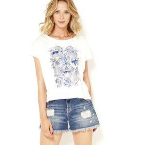 T-SHIRT Camaieu - T-shirt cropped printé femme TOUVERTJUNG