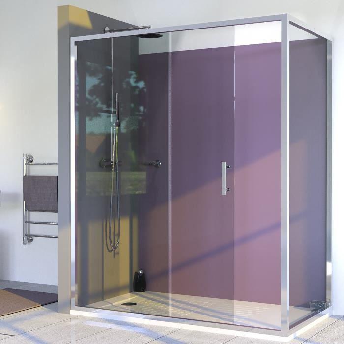 CREAZUR Porte de douche coulissante + paroi fixe Nerina - 170 x 190 cm + 80 x 190 cm - Verre trempé 6 mm