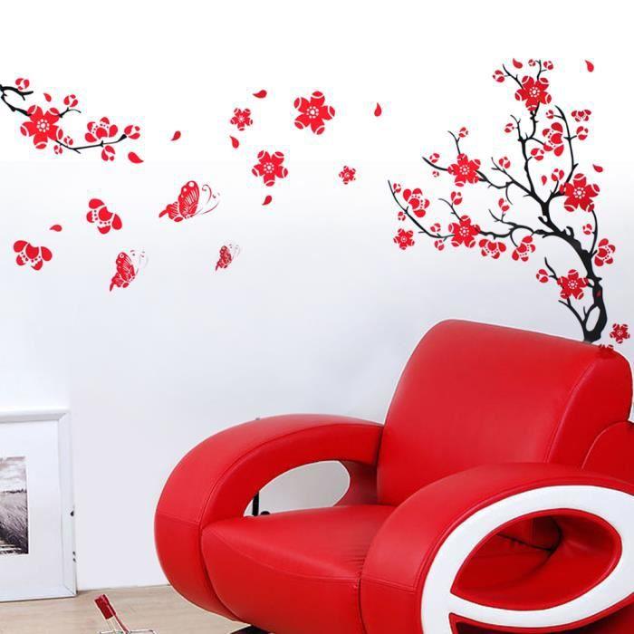 D coration fleur rouge sticker mural d co autocollant mur for Decoration murale rouge