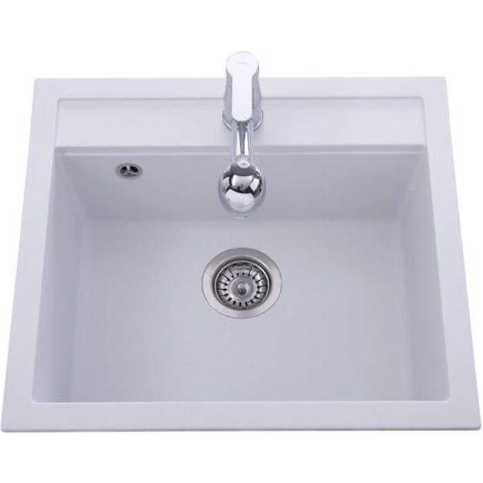 Evier Granit Blanc Aquasanita Quadris 1 Bac 565x500 Achat Vente
