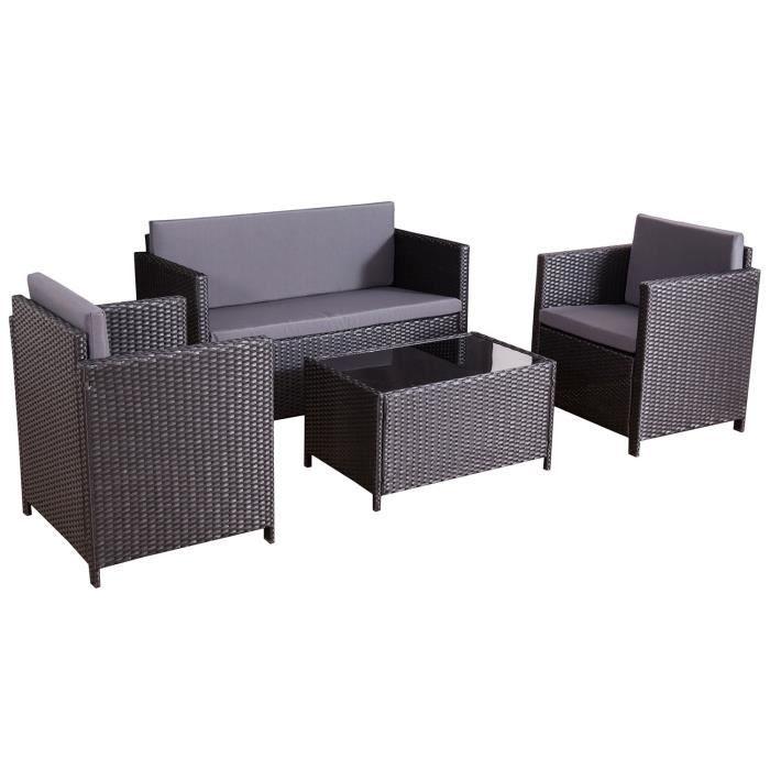 kunga ensemble salon de jardin rsine tresse noir gris 4 places canap fauteuil table - Ensemble Salon De Jardin