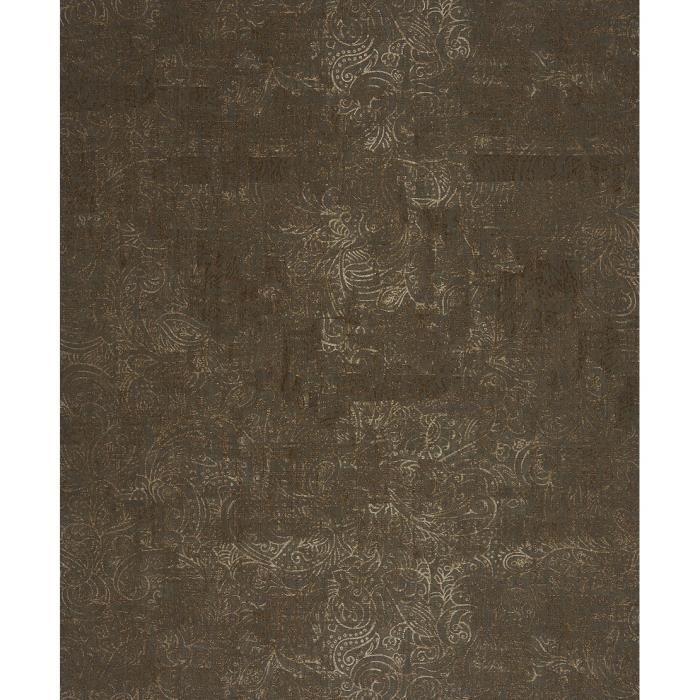 Papier peint toison marron bronze marron bronze baroque Glamour ...