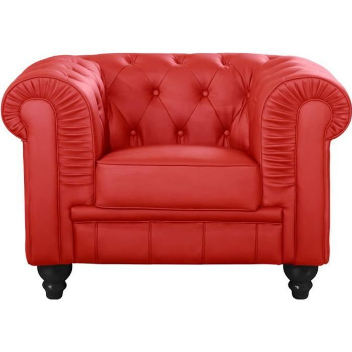 Fauteuil Chesterfield Rouge Achat Vente Fauteuil Cdiscount - Fauteuil chesterfield cuir