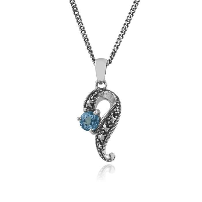 gemondo MARCASSITE Collier, argent sterling 0.55CT Topaze bleu & marcassite art nouveau 45cm Collier