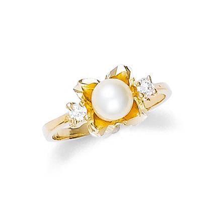 Bague Femme 14 ct Or 585/1000 Perle Fleur
