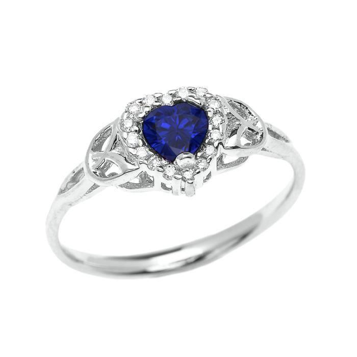 Bague Femme Elégant 10 Ct Or Blanc Diamant Et Saphir Cœur Trinité Nœud