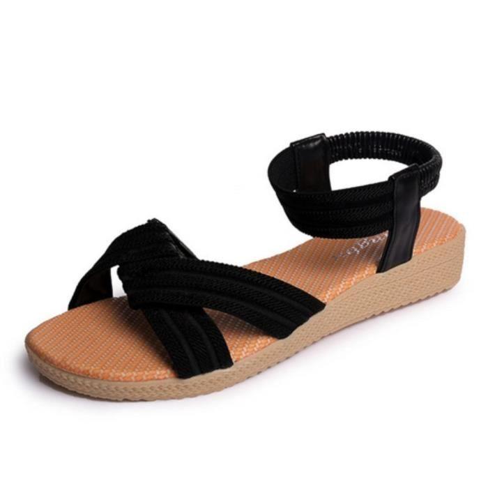 sandales femmes de la mode nouveau simple Stripe confortable plates poisson bouche décontracté