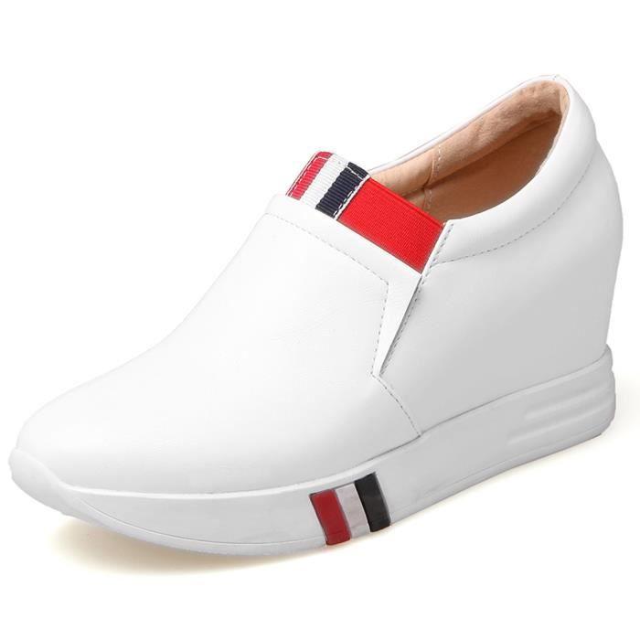 737b9cba9725b Oaleen Chaussures sport femme aspect cuir voyage baskets mode ...