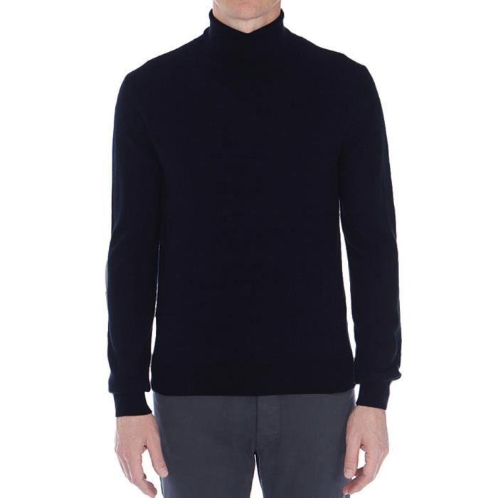 f355310d75260 Pull homme uni col roulé 100% laine Mérinos fine Bleu marine - Achat ...