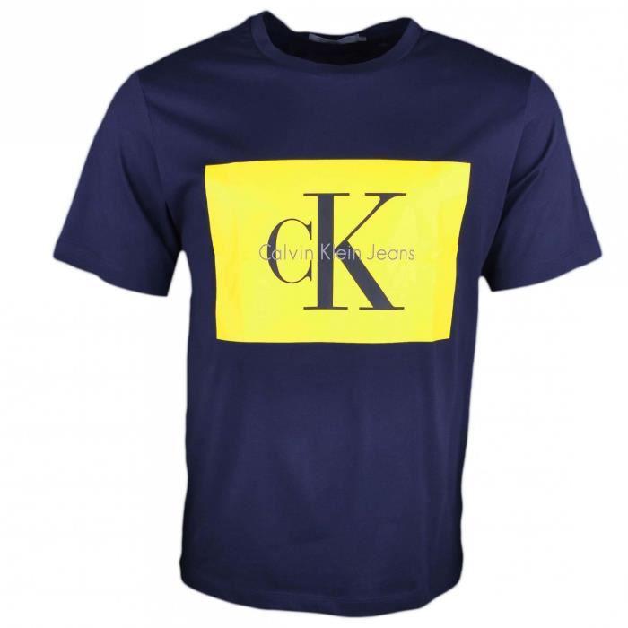 1d1f82d5776 T-shirt col rond Calvin Klein bleu marine flocage jaune pour homme -  Taille  L - Couleur  Bleu