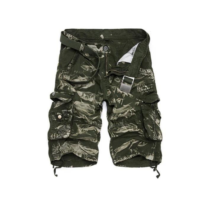 nouveau concept e6ec1 7297d Bermuda Cargo Homme Militaire Short Bermuda Multi-poche Fashion Vêtements  Homme Ete