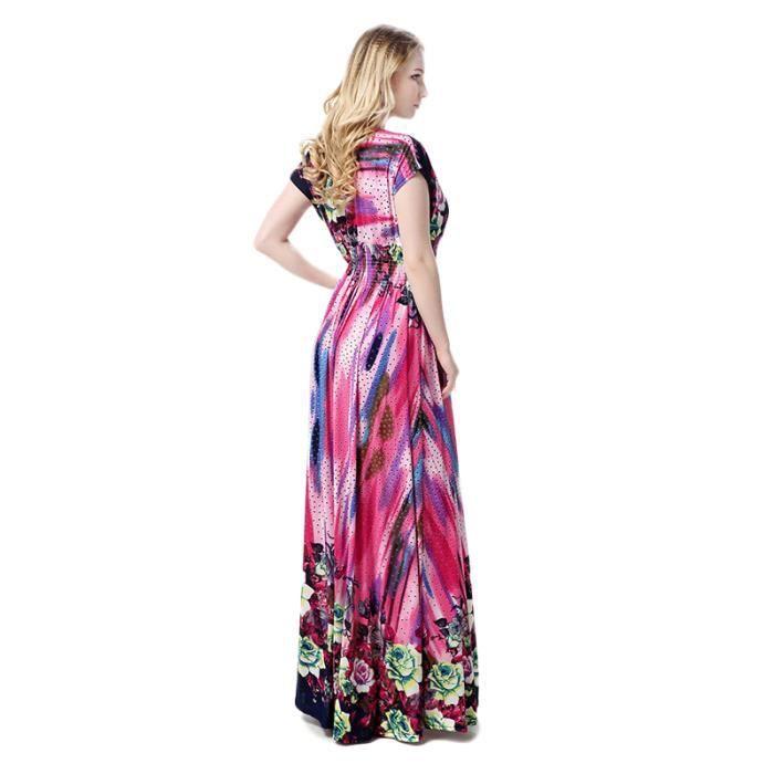 Femme Robe Rayures Manches Courte Taille Haute Amincissant élégante Charme Pour Toutes Les Occasions Longue Mince