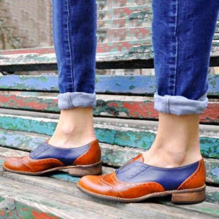 En Talons À Bout Simples Cuir Plates Chaussures Rond Bottillons on Femmes Marron Slip Place paq1TH