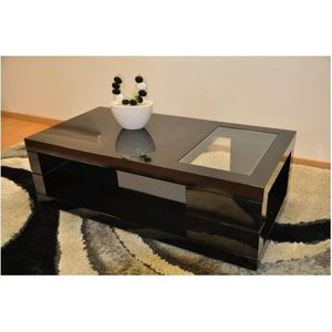Table basse noire laqu e achat vente table basse noire for Table basse laquee noire