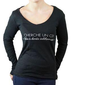 T-SHIRT T shirt humour femme noir en coton : Cherche un CD