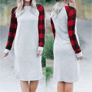 48da78f6ec7 ROBE Femmes en laine à manches longues à carreaux Patch