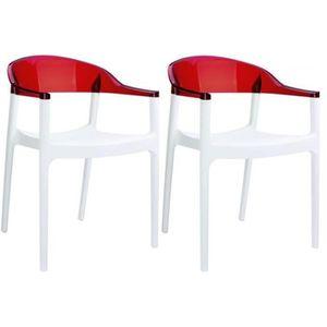 CHAISE Lot De 2 Chaises Design Blanches Et Rouge Transpa