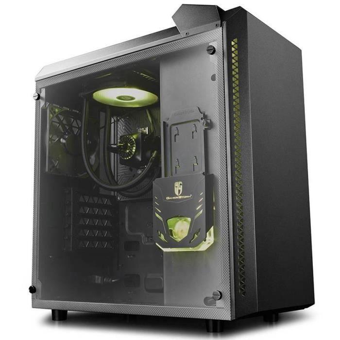 BARONKASE LIQUID Moyen tour Format ATXavec Watercooling CPU intégré - Noir (verre trempé)