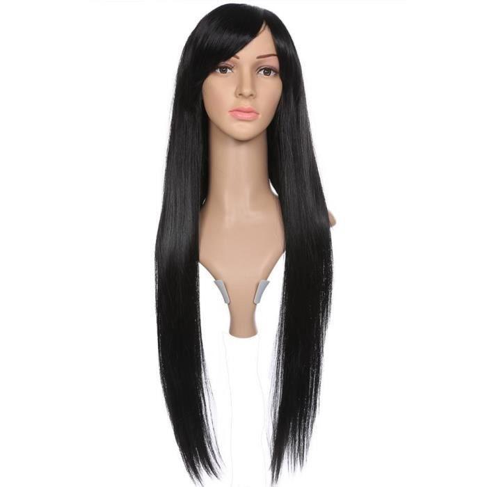 Perruque de cheveux frange oblique