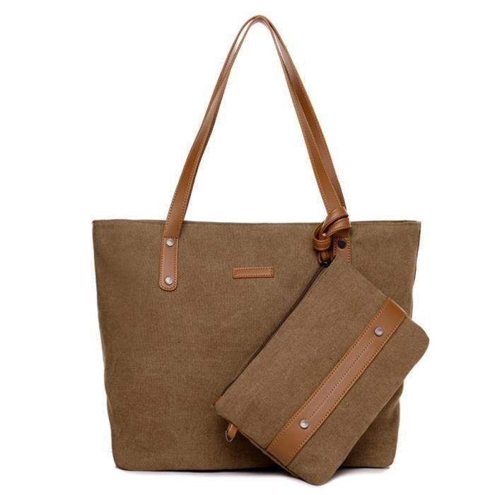 Grande bandoulière en toile de femmes Sac à main Voyage avec un petit sac à main Conin Wristlet HWF7N