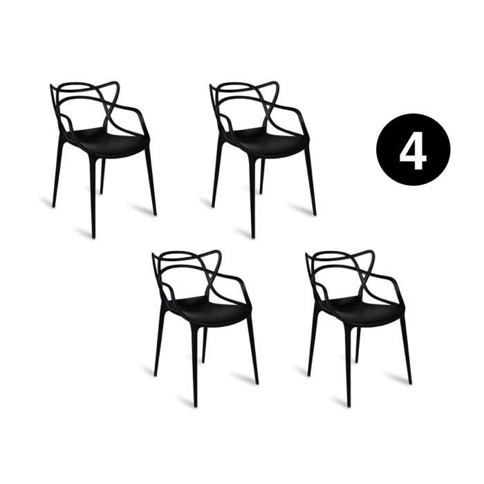 Lot 4 Chaises MIAMI Noir Inspiree Starck Masters TRENDS FOR HOMES