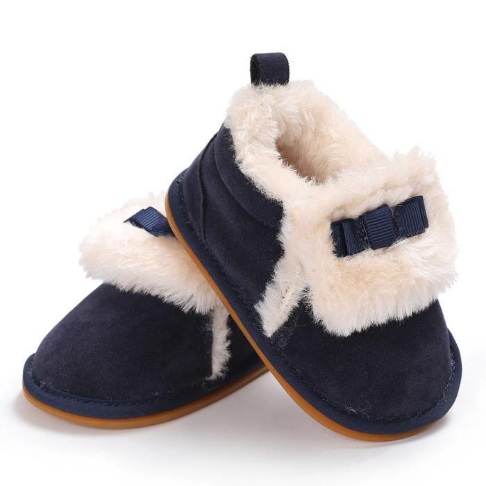 Tout-petits Bow bébé garçons filles en peluche mocassins douce semelle non-dérapant chaud velours neige marine uyDaf9QDi