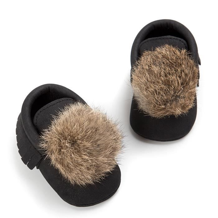 Les glands de boule de bébé maintiennent chaud Leater chaussures Sneaker anti-dérapante de chaussure