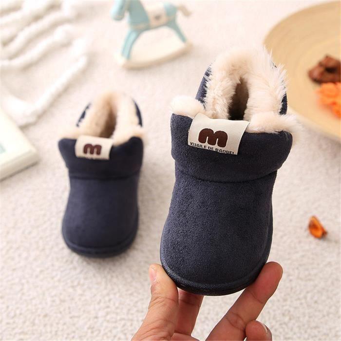 Bottine Enfant Mignon Plus De Cachemire Hiver Bottines Confortable Beau Coton Chaussure Garde Au Chaud Doux Durable Bleu 18